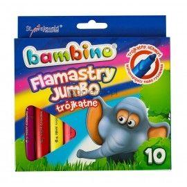 Flamastry  JUMBO trójkątne, 10 kolorów BAMBINO