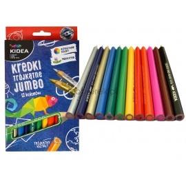 Kredki trójkątne grube Jumbo 12 kolorów Kidea
