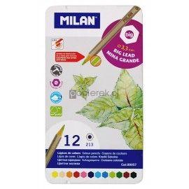 Kredki ołówkowe sześciokątne 12 kolorów Milan