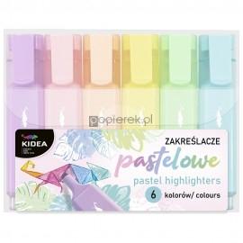 Zakreślacze pastelowe Kidea 6 kolorów
