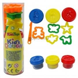 Masa plastyczna 3 kol. + foremki dla dzieci 3+