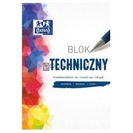 Blok techniczny 10 białych kartek A4 Oxford 250 g