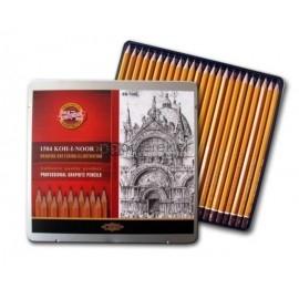 Zestaw ołówków grafitowych 8B-10H KOH-I-NOOR 24 sztuki