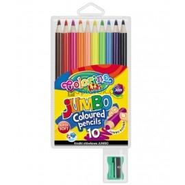Kredki Colorino Kids Jumbo ołówkowe okrągłe 10 kolorów + temperówka