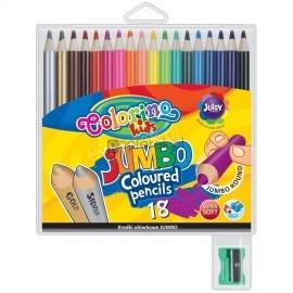 Colorino Kredki Ołówkowe Jumbo 18 Kolorów + Temperówka