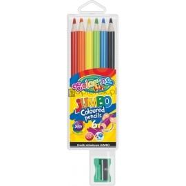 Kredki ołówkowe okrągłe JUMBO 6 kolorów COLORINO KIDS