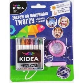 Zestaw do malowania twarzy Kidea 6 kolorów + brokat
