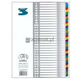 Przekładki laminowane numeryczne kolor 1-31 A4 TRES