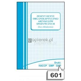 Zeszyt oceny organoleptycznej artykułów spożywczych bez chłodzenia  nr 601