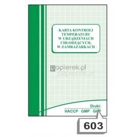 Karta kontroli temperatury w urządzeniach chłodzących, w zamrażarkach nr 603