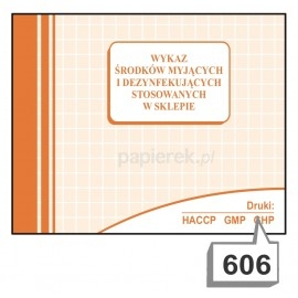 Wykaz środków myjących w sklepie A5 nr. 606