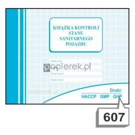 KSIĄŻKA KONTROLI STANU SANITARNEGO POJAZDU NR 607