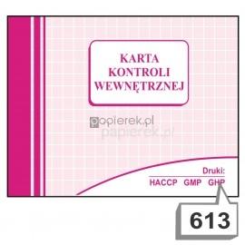 Karta kontroli wewnętrznej nr 613
