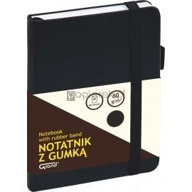 Notatnik GRAND z gumką czarny A6/80