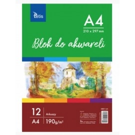 Blok do akwareli A4 190g 12 arkuszy Tetis