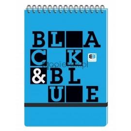 KOŁOZESZYT A5 100 KARTEK W KRATKĘ PP Z GUMKĄ I SPIRALĄ  BLACK & BLUE