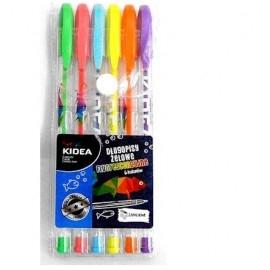 Długopisy żelowe fluorescencyjne 6 kolorów KIDEA