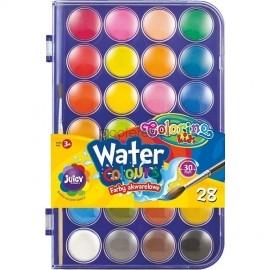 Farby akwarelowe 28 kolorów + pędzelek COLORINO