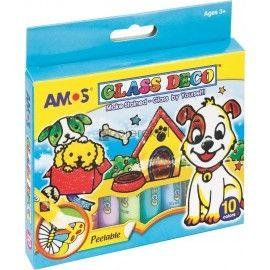 Farby witrażowe AMOS 10,5ml x 10 kolorów GLASS DECO