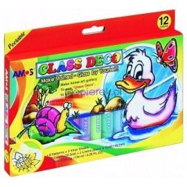 Farby witrażowe Glass Deco 12 kolorów blister AMOS