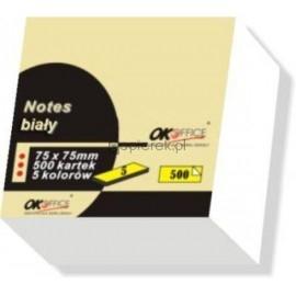 Notes samoprzylepny biały 500 kartek 75 x 75 OK OFFICE