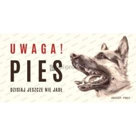 UWAGA!ZŁY PIES PM01 10x20CM uwaga pies jeszcze nie jadl