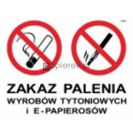 NAKLEJKA ZAKAZ PALENIA wyrobów tytoniowych i e-papierosów