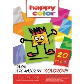 Blok techniczny kolorowy A4 20K HAPPY COLOR