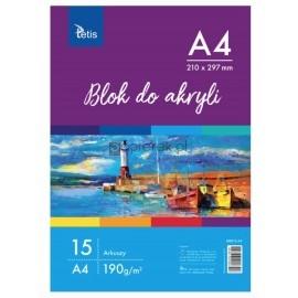 Blok do akryli A4, 190g 15 arkuszy TETIS