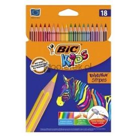 Kredki Eco Evolution Stripes 14+4 kolory BIC