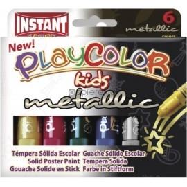 Farby tempera w sztyfcie Playcolor Metallic 6 kolorów