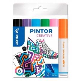 Markery PILOT PINTOR 6 kolorów do tkanin porcelany
