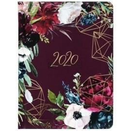 Kalendarz książkowy tygodniowy 2020 B6 Kwiaty bordo