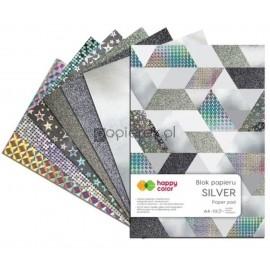 Zestaw papierów dekoracyjnych, A4, 10 arkuszy, srebrne Happy Color