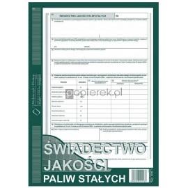 Świadectwo jakości paliw stałych 300-1 A4 Michalczyk & Prokop