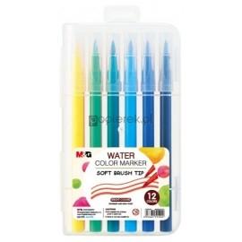 Pisaki artystyczne, pędzelkowe, 12 kolorów M&G