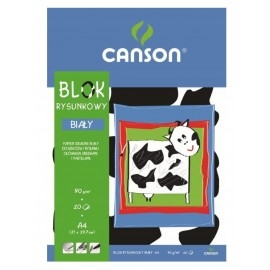 Blok rysunkowy biały A4 Canson 20 kartek