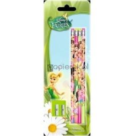 Ołówek z gumką 4 szt. + temperówka Disney