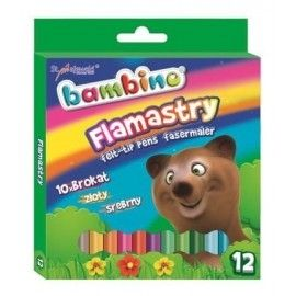 Flamastry brokatowe BAMBINO 12 kolorów