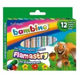 Bambino flamastry ze stempelkami 12 kolorów