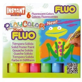 Farby tempera w sztyfcie 6 kolorów fluo PLAYCOLOR