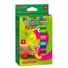 Farby plakatowe w sztyfcie 6 kolorów fluo Alpine