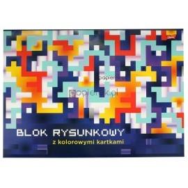 Blok rysunkowy A3 z kolorowymi kartkami, 16 kartek