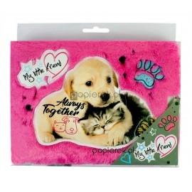 Pamiętnik z kłódką włochacz Pies i Kot A5