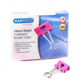 Klipy Serce 19mm różowe, 20 sztuk