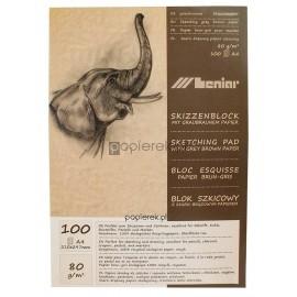 Blok szkicowy eko szaro-brązowy Leniar A4 80g