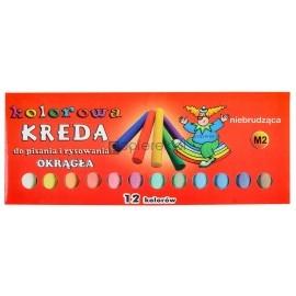 Kreda kolorowa 12 kolorów okrągła niebrudząca