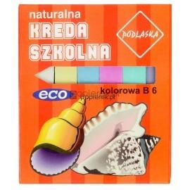 Naturalna kreda szkolna kolorowa prostokątna 6 szt. ECO