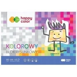 Blok rysunkowy Happy Color 15 kolorowych kartek A4