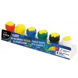 Farby do malowania palcami 6 sztuk Kidea